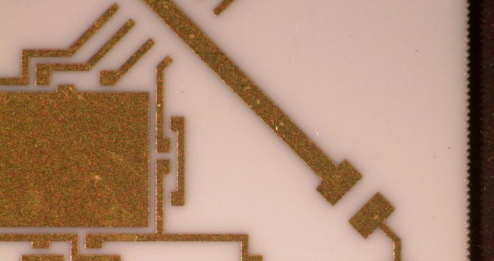 Thin Film Ceramic with metal circuit laser cut - Accu-Tech Laser Processing