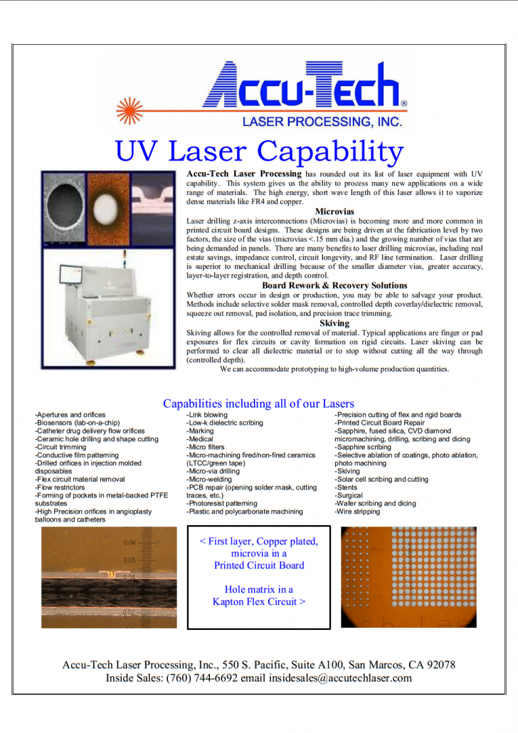 Accu-Tech Laser Processing's Capability Flyer, contact us for details